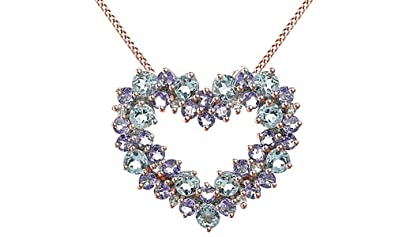 Amazon simulated blue aquamarine tanzanite white diamond simulated blue aquamarine tanzanite white diamond cluster heart pendant in 925 sterling silver aloadofball Gallery