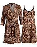 Rene Rofe Womens Lightweight Soft-Stretch Hacci Knit Robe and Chemise Nightgown Set (Leopard Print, X-Large)'