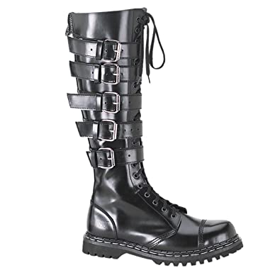 Amazon.com | Mens Black Leather Combat Boots Goth Punk 20 Eyelet 5 ...