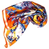 "LORENZO CANA - Italian Scarf 100% Silk Satin 90 X 90 cm , 35"" X 35"" Orange Gold White Blue Paisley - 89023"