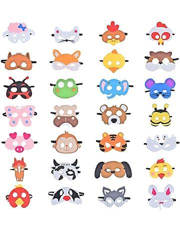 28 Piezas Fiesta Máscaras para Niños, Fieltro Máscaras para Animal Cosplay Fiesta Ojo Máscaras con