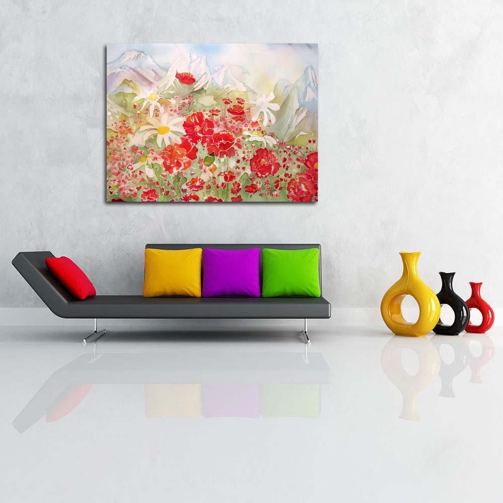 Pitaara Box Rojo Rojo Rojo Puppy Flowers & Blanco Chamomile Unframed Canvas Painting 40 x 30inch 5a697b