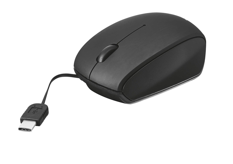 Trust Ratón con Cable retráctil y conexión Tipo C, Negro: Amazon.es: Informática