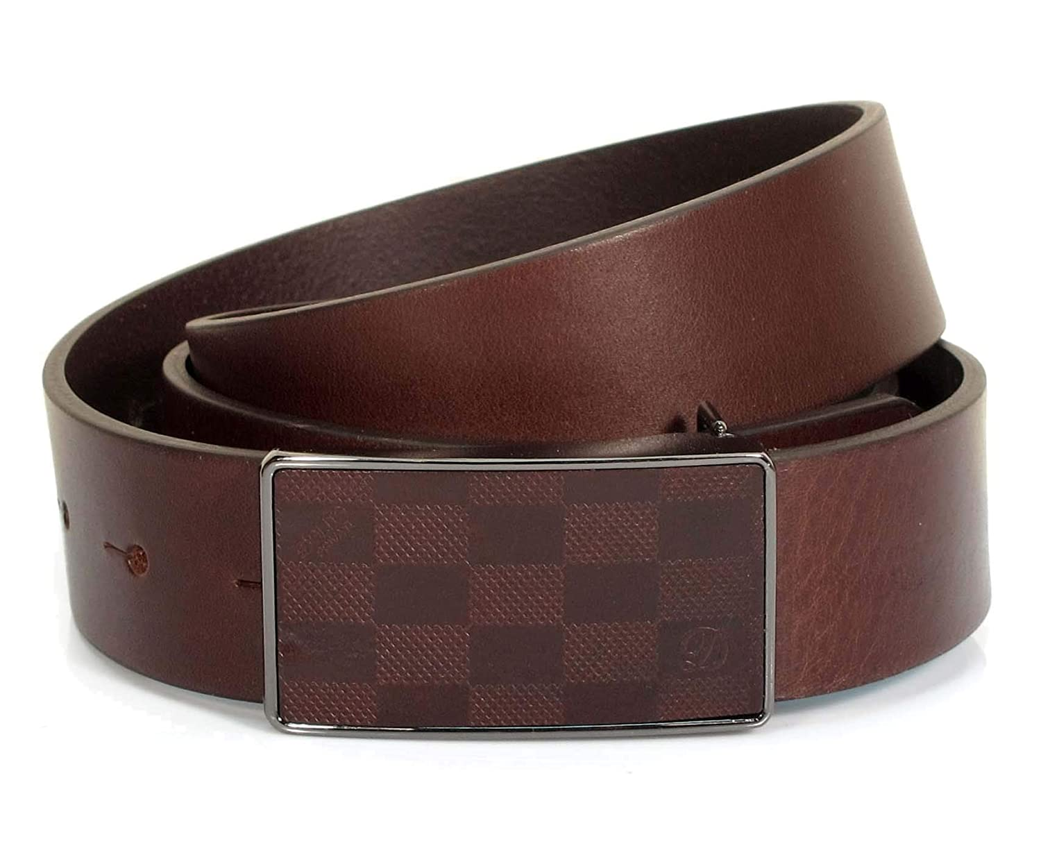 Mens Real Genuine Leather Dark Brown Belt 1.25 Wide S-L Thick Casual Jeans CM1
