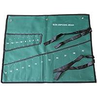ZffXH Roll Tool Bag Wrench Organizer Pouch Canvas Storage Holder Muliti Pocket Metric-1 PCS [ 20 Pockets ]-Black