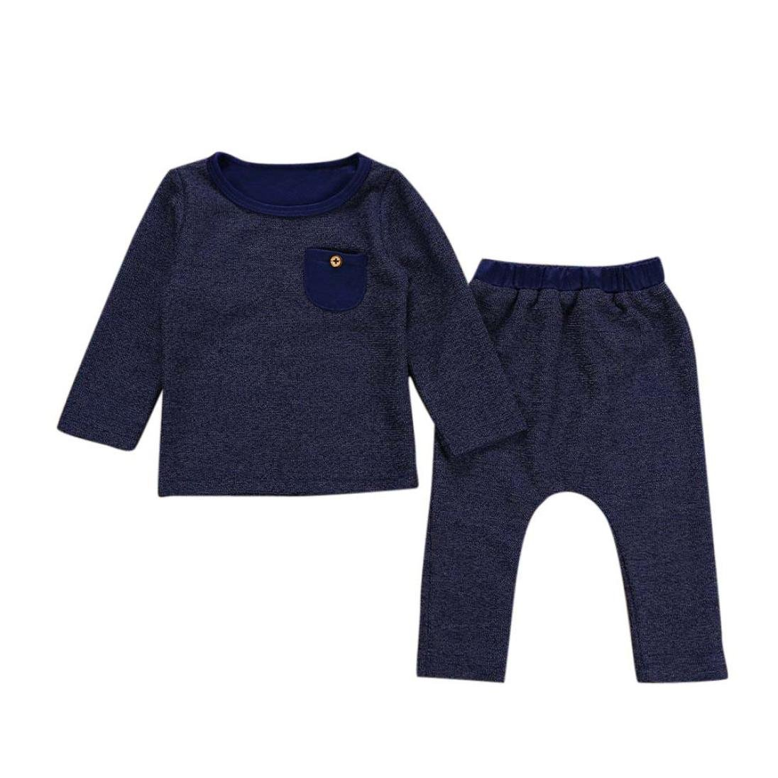WARMSHOP Boys 2-Piece Navy Solid Pocket Tops Blouse+Elastic Pants Outside Casual Cotton Clothing Warm Outfits Set