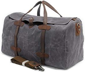 S-ZONE Waterproof Waxed Canvas Leather Trim Travel Tote Duffel Handbag  Weekend Bag 93ca6e2b6559d
