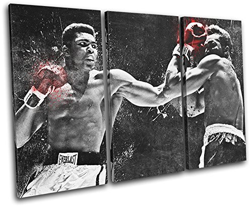 Bold Bloc Design - Muhammad Ali Boxing Grunge Sports 60x40cm TREBLE Canvas Art Print Box Framed Picture Wall Hanging - Hand Made In The UK - Framed And Ready To Hang ()