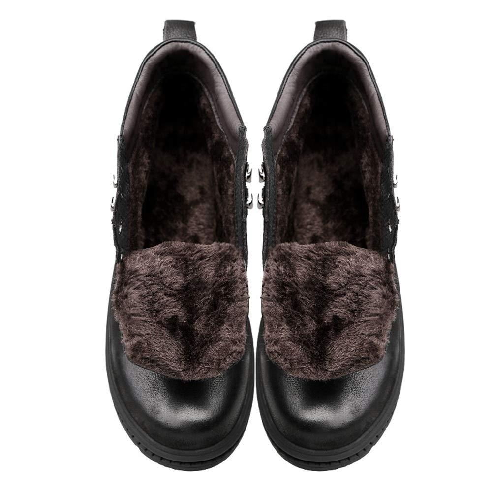Shufang-schuhe Kurze Fluff Inside Herren Stiefeletten Schwarz Komfortabel Mit Wasserdichten Stiefelies Für Herren (Farbe   Schwarz, Größe   42 EU)