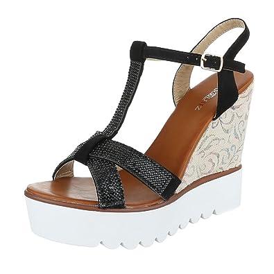 Damenschuhe Plateau Sandalen mit Keilabsatz/Wedge Keilabsatz Schnalle Sandalen/Sandaletten (39 EU, Schwarz)