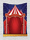Ambesonne Kids Tapestry Circus Decor, Tent Stage Backdrop Print Performing Activity Playroom Decorations Theater Themed, Wall Hanging Art for Bedroom Living Room Dorm, 40 x 60 inch, Navy Blue Red