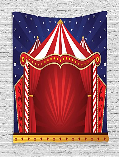 Circus Decor Tapestry Wall Hanging By Ambesonne, Canvas Tent Circus Stage Performing Theater Jokes Clown Cheerful Night Theme, Bedroom Living Room Dorm Decor, 60 W x 80 L Inches - Circus Art Printed Canvas