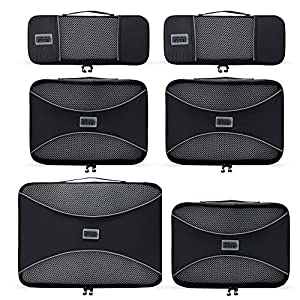 PRO Packing Cubes - 6 Set - Ultimate Travel Packing Cube System for Luggage, Backpacks, Tote Bags & weekend Bags (6 Piece Set, Graphite)