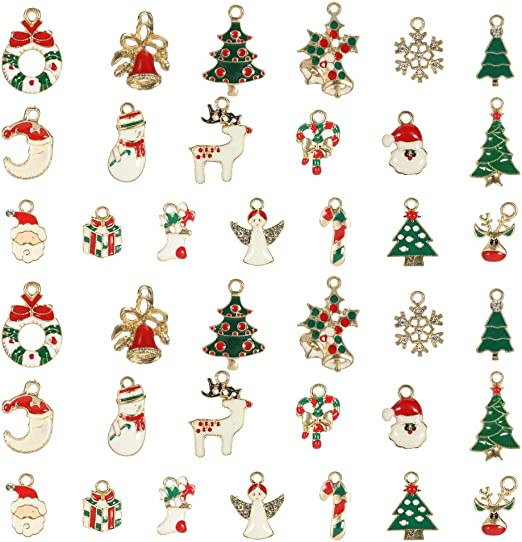 JAHEMU Christmas Pendants Charms Gold Plated Christmas Enamel Charm Alloy Pendant DIY Ornaments Crafts for Bracelet Necklace Jewelry Making Xmas Decorations 38 Pieces