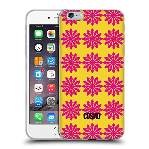 Official Cosmopolitan Yellow And Pink Floral Patterns Soft Gel Case for Apple iPhone 6 Plus / 6s Plus