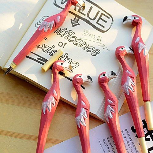 WOOD MEETS COLOR Handmade Carved Wood Animal Gel Ink Pens set of 2 pens (flamingo)