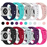 Haveda Bands Compatible with Apple Watch Band 38mm 40mm 42mm 44mm, Soft Silicone Sport Strap Wristband for Women Men with Apple Watch Series 4, Series 3, Series 2, Series 1, S/M, M/L