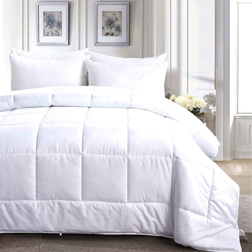 Merssa Down Alternative Microfiber Comforter 400 GSM Lightweight Duvet Insert Brushed Microfiber Fabric Machine Washable (Twin/Twin XL - 68''X90'', Solid White)