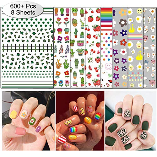 TailaiMei 2019 New Nail Decals Stickers, Popular Style in Korea Instagram - 800+ Pcs Self-adhesive Tips DIY Nail Art Design Stencil (8 Sheets)