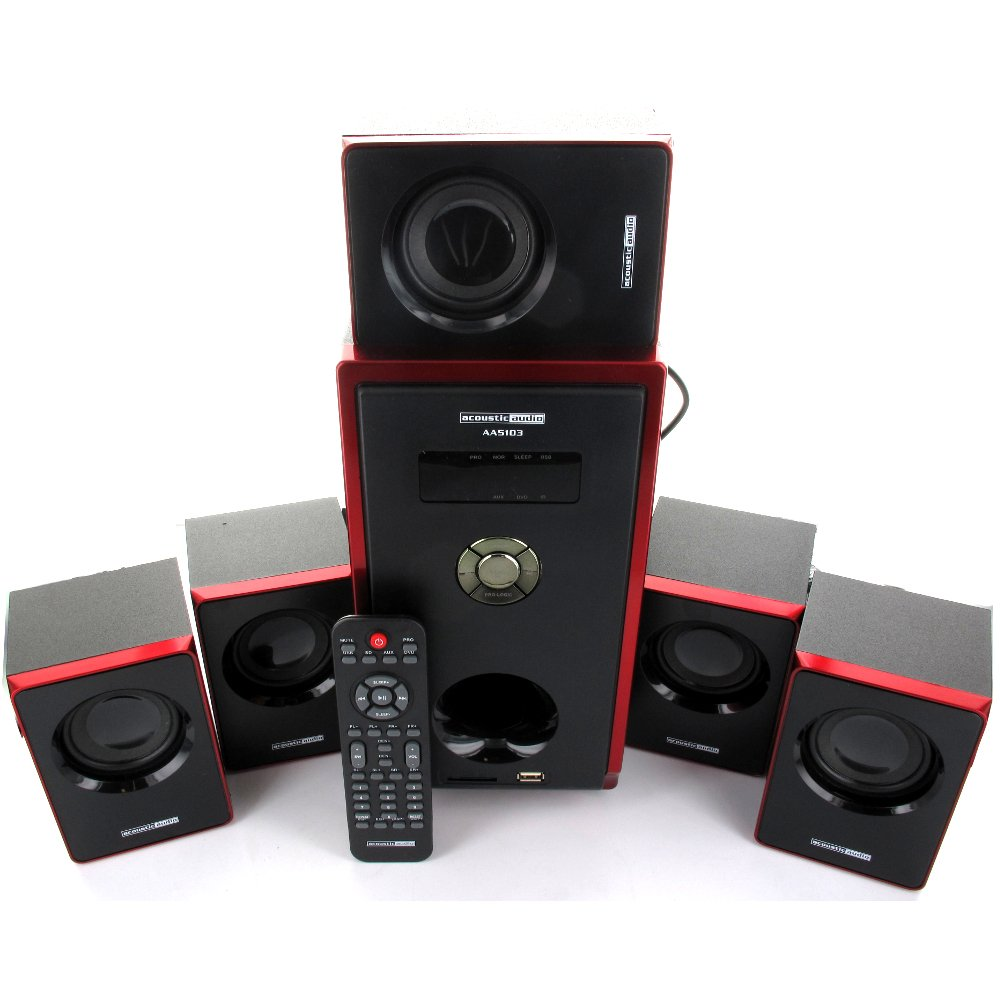 Acoustic Audio AA5103 800W 5.1 Channel Home Theater Speaker System with 5 Extension Cables AA5103-5 by Acoustic Audio by Goldwood