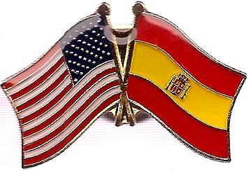 Pack de 3 España y nosotros Crossed pins, español y americano Amistad Pin De Bandera de doble: Amazon.es: Oficina y papelería