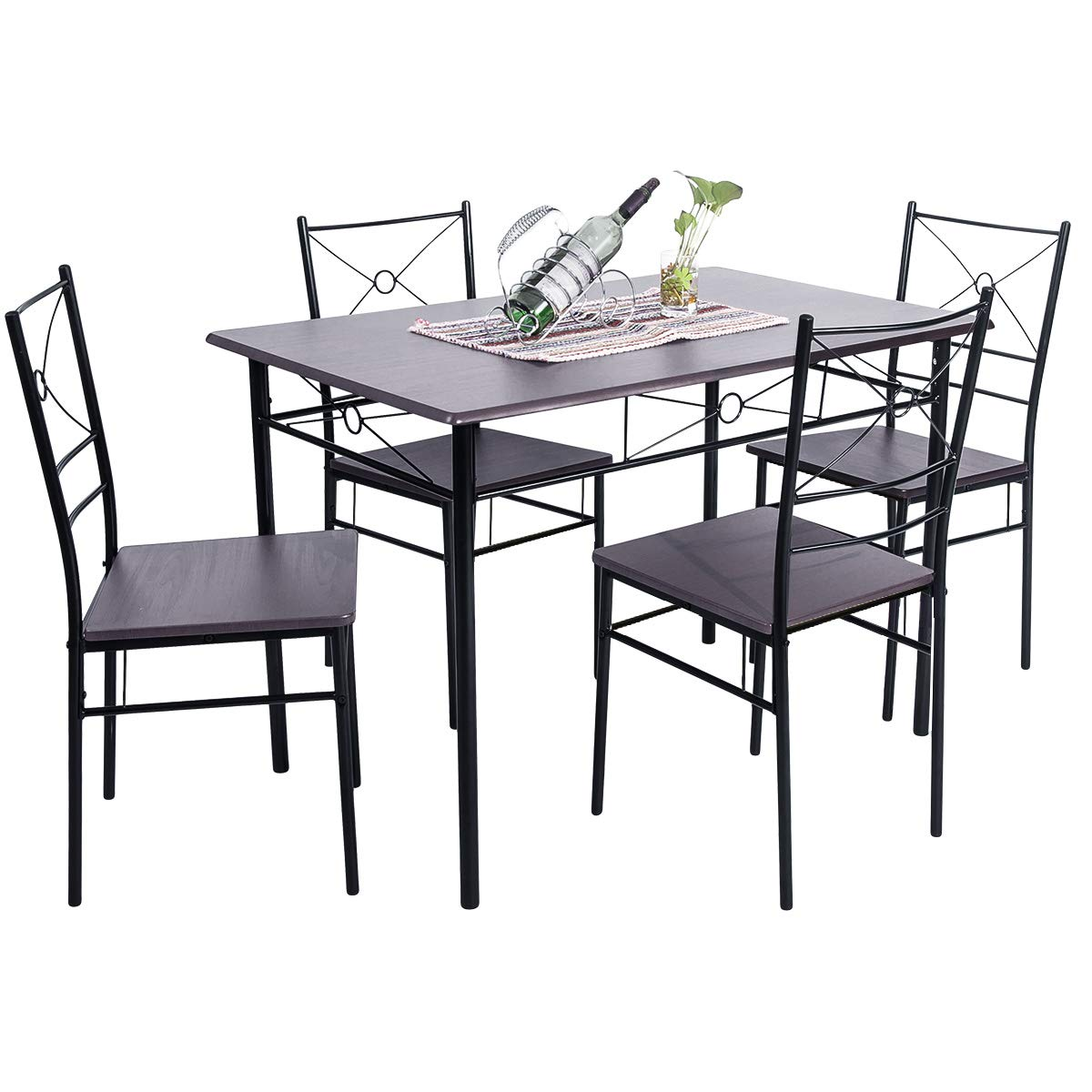 BEIZ & PENZ 5-Piece Dining Table Set Vintage Wood Top Home Kitchen Table with 4 Chairs Wood and Metal Dining Room Breakfast Modern Furniture (Espresso)