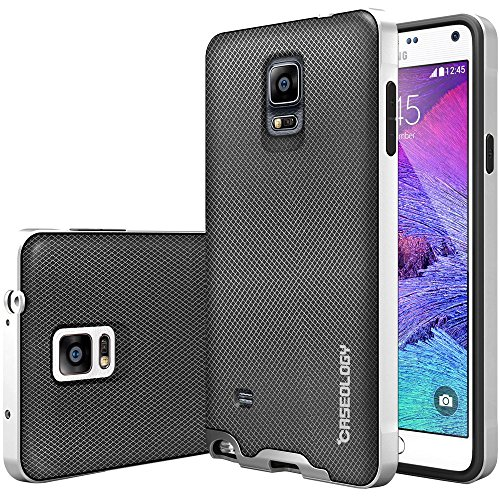 Galaxy Note 4 Case, Caseology [Envoy Series] Classic Rich Texture Leather [Mesh Silver] [Luxury Slim] for Samsung Galaxy Note 4