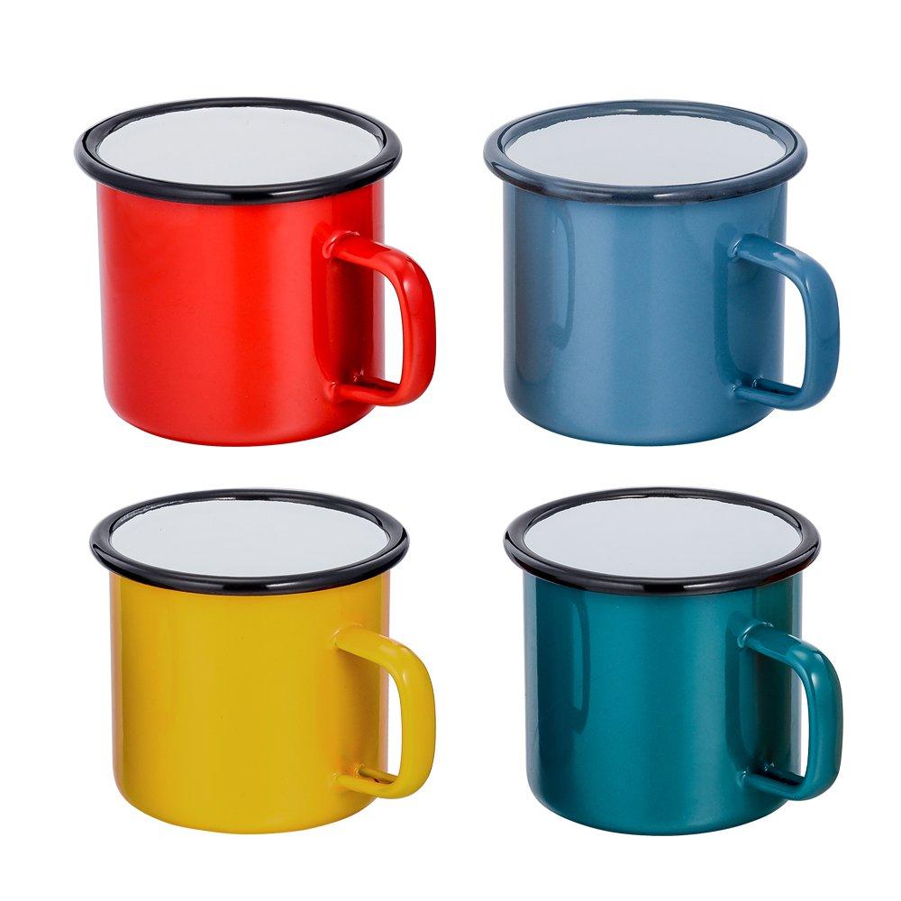 Colorida Pintura 12 oz Rojo//Azul//Verde//Amarillo 350 ML TeamFar Taza de t/é caf/é Set de 4 Tazas de Esmalte para hogar Oficina Fiesta o Camping