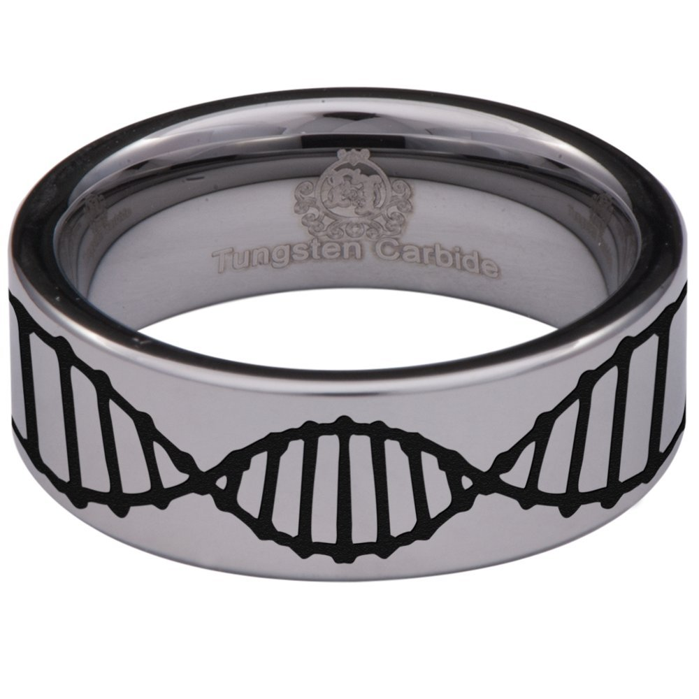 Friends of Irony Silver Tungsten Carbide DNA Ring 8mm Wedding Band Anniversary Ring for Men and Women Size 6.5