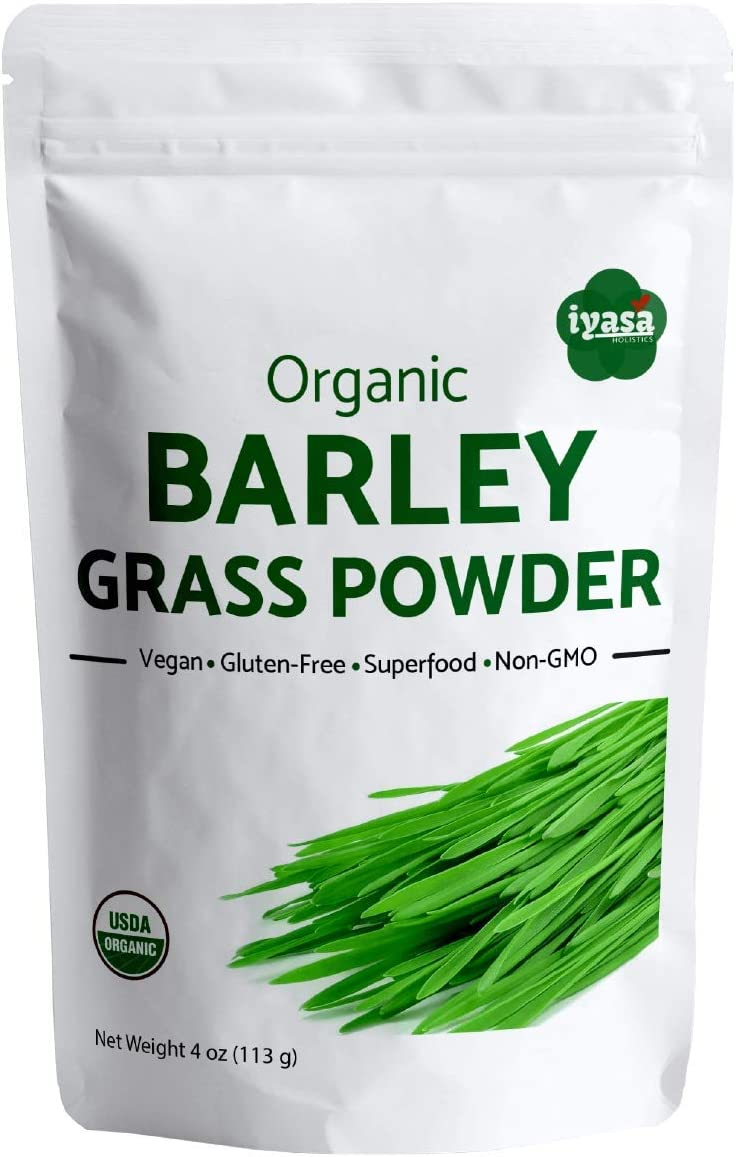 USDA Organic Barley Grass Powder, 14 oz (397 Grams), Raw, Vegan, Green Super Food, Rich in Plant Protein, Fibers and Minerals, Natural Energy Booster and Body Detox, Resealable Pouch