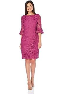 6908d8ec Roman Originals Women's Frill Sleeve Lace Shift Dress - Ladies Knee Length  Bohemian Dresses Flute Sleeves