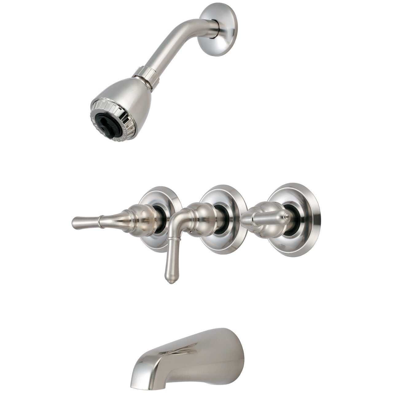 Olympia Faucets P 3230 BN Three Handle Tub Shower Set  PVD Brushed Nickel Finish And Amazon com