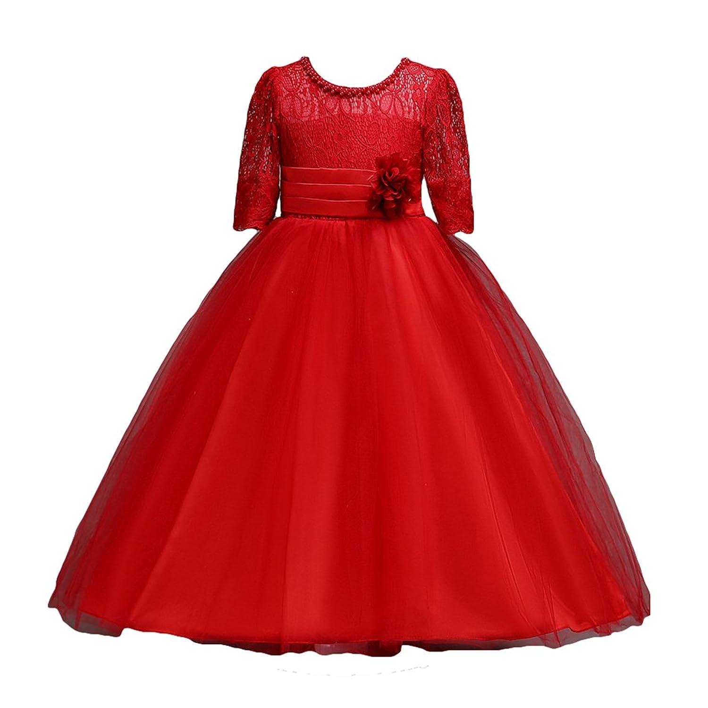 Fille Fleur Robes Mariage Demoiselle D'Honneur Fête Dentelle Tulle Robe Bowknot Communion Bal De Promo Danse Maxi Anniversaire Robe 4 - 15 Années Meedot