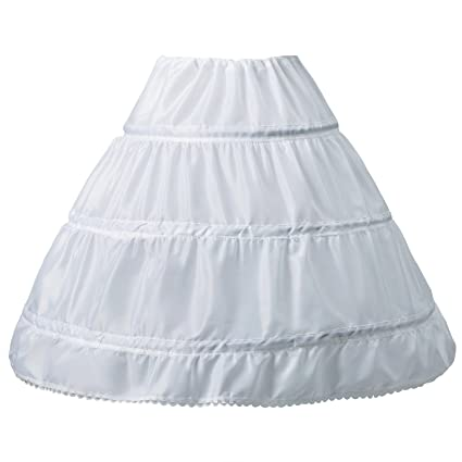 Amazon.com: General Girls Underskirt, 3 Hoop Petticoat White, A-line ...