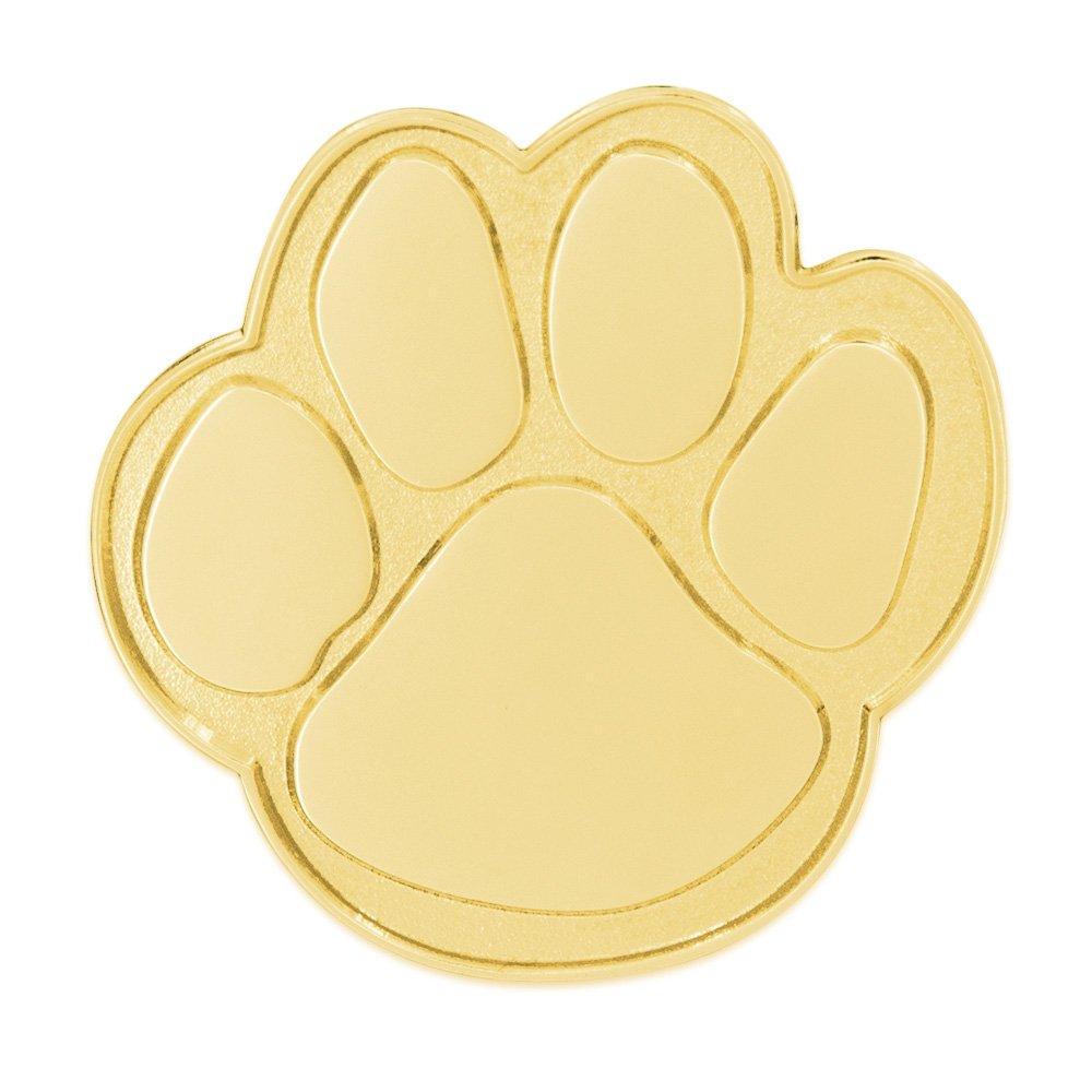 PinMart's Gold Animal Paw Print School Mascot Lapel Pin