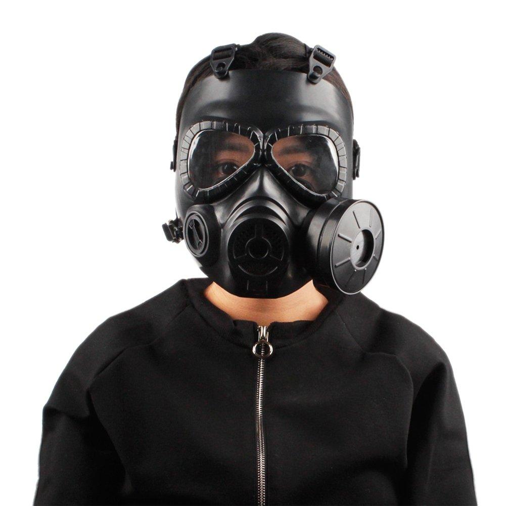 Sweetds Máscara de Gas, Filtro Doble CS Paintball Táctica Militar Ejército con Máscara de Protección contra la Transpiración y Casco Airsoft con Ventilador: ...
