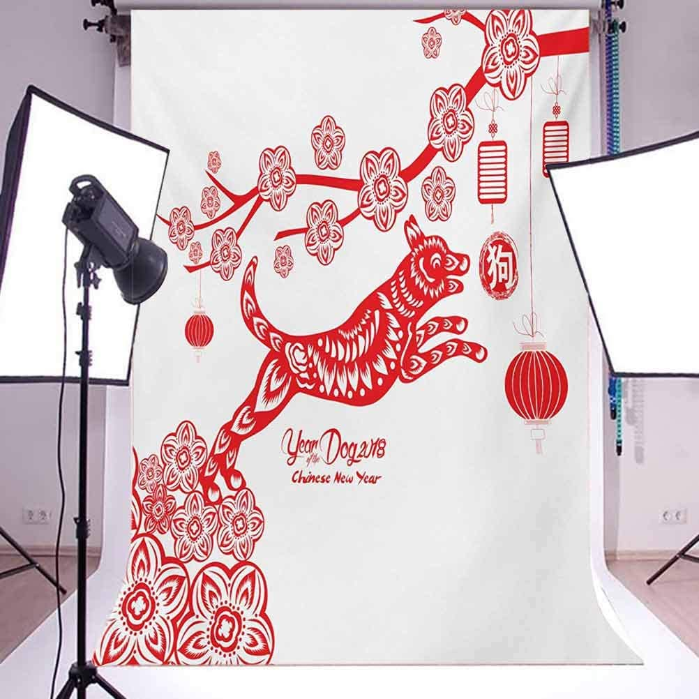 Year of The Dog 10x15 FT Photo Backdrops,Monochrome Canine in a Festive Illustration New Year Celebration Background for Party Home Decor Outdoorsy Theme Vinyl Shoot Props Vermilion and White