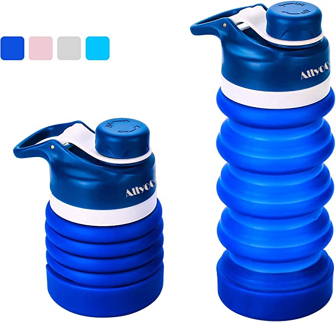 Allyooly Silicone Collapsible Water Bottle - Portable Leak Proof Travel Collapsible Bottle BPA Free, Food-Grade Silicone Sports Water Bottle with Eco Bag, 12oz (Navy Blue)
