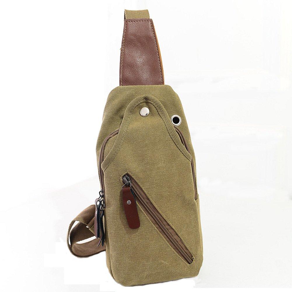 Aiyuda Men Women Canvas Unbalance Pack Crossbody Bag Sling Shoulder Chest Bag Rucksack Backpack for All Sports Khaki