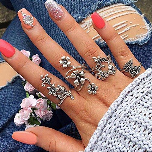 Bulges Vintage Style Carved Rose Flower Leaf Ring Set 4 Pcs Rings