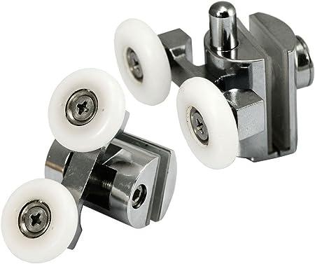 4 x aleación de zinc superior & inferior para mampara de ducha doble ruedas rodillos Runner...: Amazon.es: Hogar