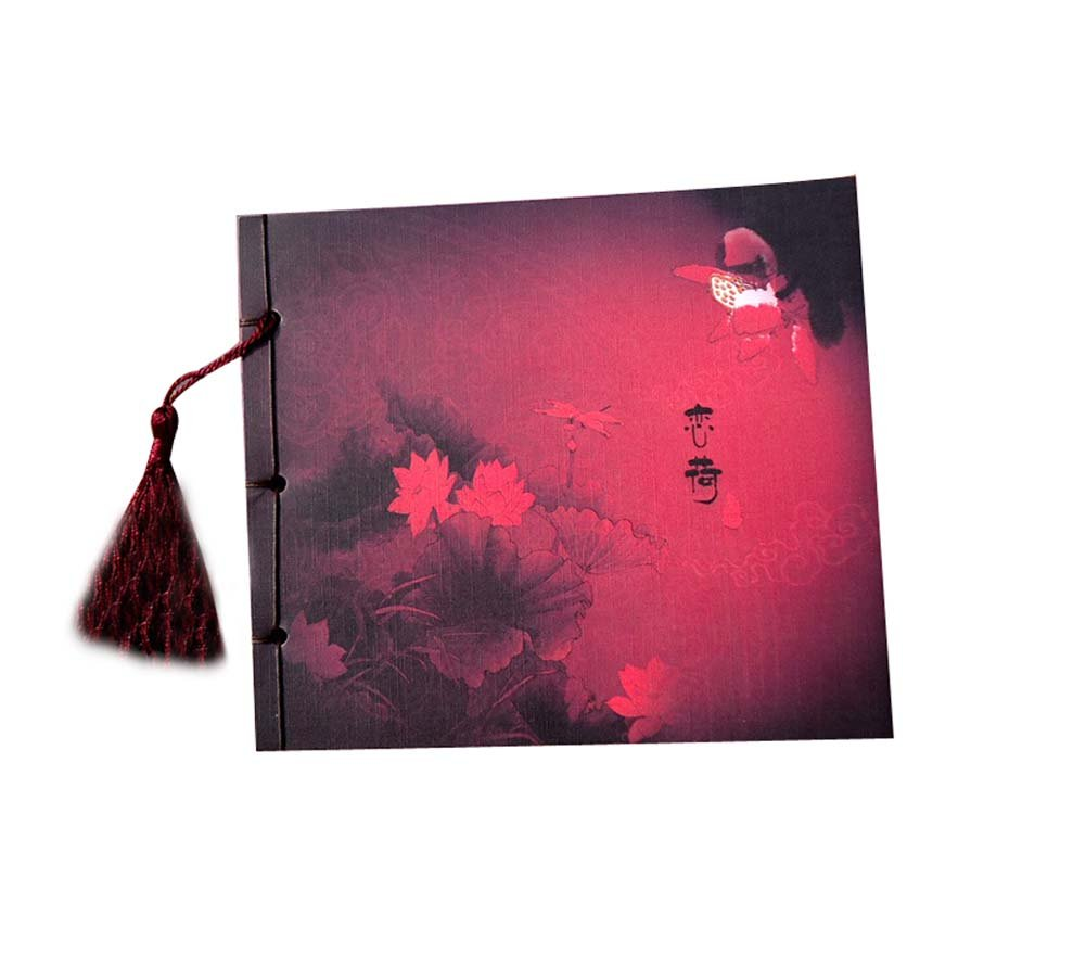 Artistic Chinese Style Schedule Book Diary Business Notebook, Red Lotus Panda Superstore PS-OFF490756011-TARA00417