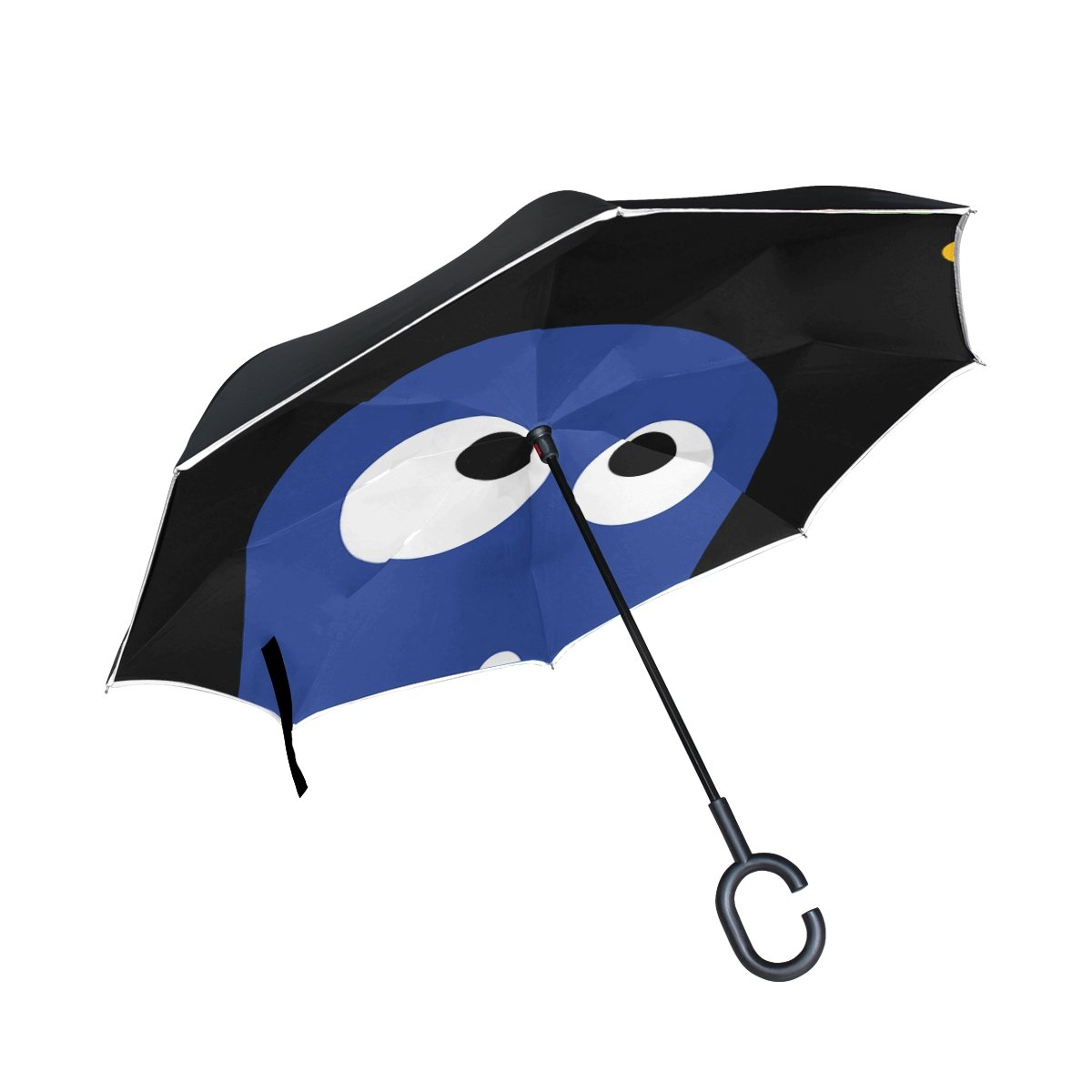 YUMOING Double Layer Inverted Crazy Monster Fun Funny Alien Extraterrestrial Umbrellas Reverse Folding Umbrella Windproof Uv Protection Big Straight Umbrella For Car Rain Outdoor With C-shaped Handle