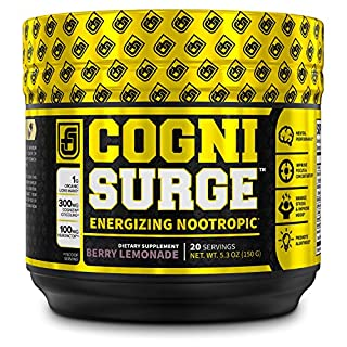 COGNISURGE Nootropic Brain Booster Supplement - Boost Energy & Focus, Concentration, Memory & Mental Clarity - w/ Lions Mane Mushrooms, Cognizin Choline, KSM-66 Ashwagandha, & Neurofactor - 20sv