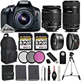 Canon EOS REBEL T6 DSLR Camera + Canon EF-S 18-55mm f/3.5-5.6 IS II Lens + Canon EF-S 55-250mm f/4-5.6 IS STM Lens - All Original Accessories Included - International Version