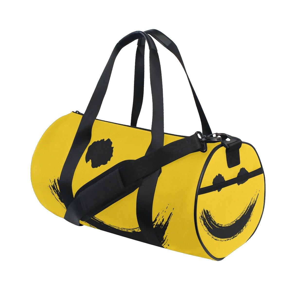 Naanle Yellow Emoji Smile Happy Face Emoticon Gym bag Sports Travel Duffle Bags for Men Women Boys Girls Kids