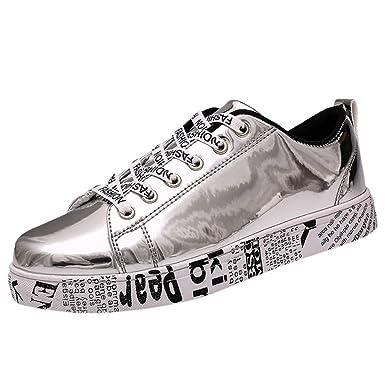 brand new b9608 acfde Moda Coppia Trend Bright Leather Slip Wear Sneakers Flat ...