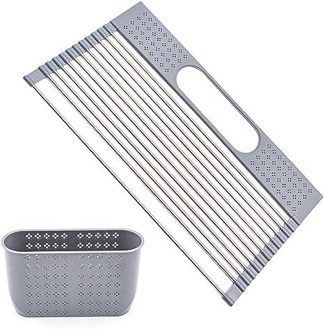 Collapsible Dish Drying Rack Drainer w// Utensil Holder Fruit Kitchen