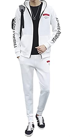 d7f5cadea EMAOR Mens Athletic Tracksuit Set Full Zip Hoodie Jogging Pants Sweat Suits  White