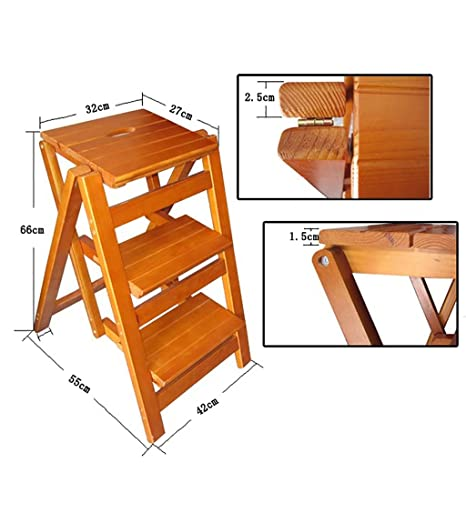 ZEMIN Wooden Ladder Chair Fold Up Library Step Ladder Foldable Solid Wood  Staircase Stool Folding Three
